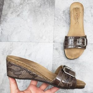 Vionics Ariana Brown Snakeskin Wedge Slides